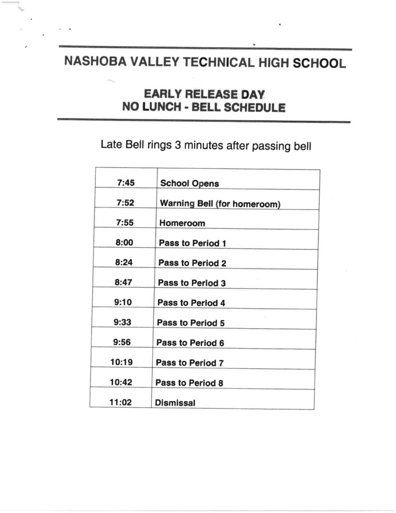 Early Release Day  No Lunch Bell Schedule