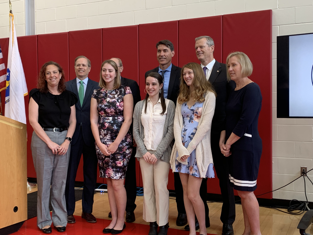 Staff and students with Governor Baker